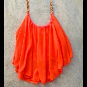 Beautiful Bright Orange Flowy Top